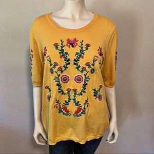 Chelsea & Theodore Yellow Floral Embroidered Top